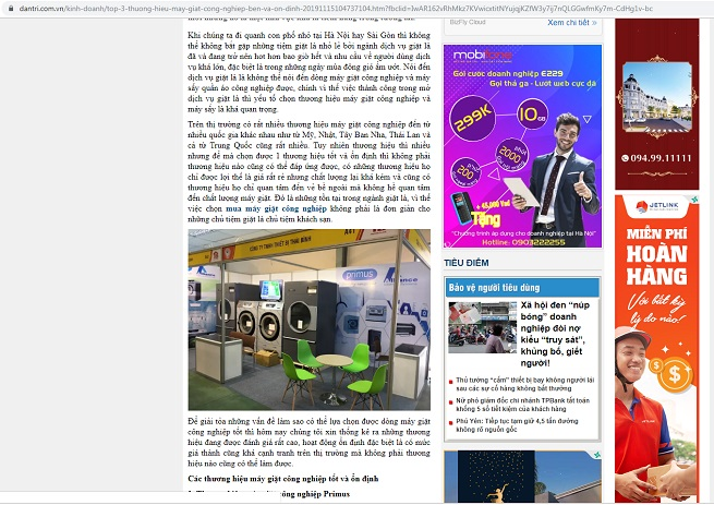 Máy giặt công nghiệp Thái Bình trên báo dantri.com.vn