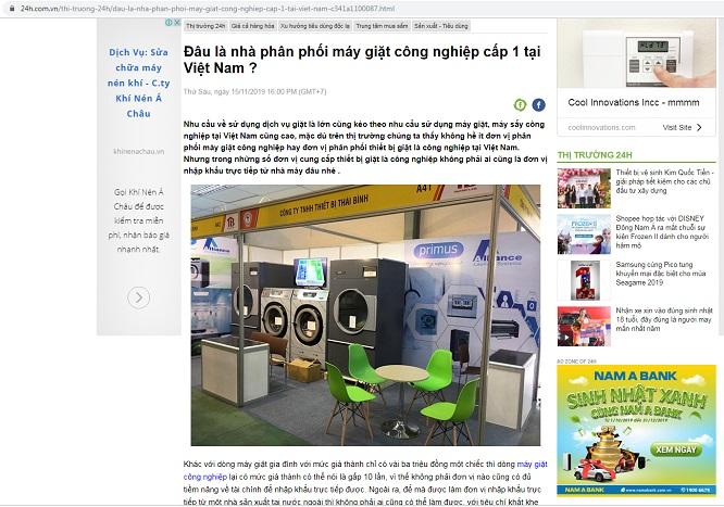 Máy giặt công nghiệp Thái Bình trên báo 24h.com.vn