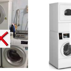 máy sấy chồng lên máy giặt