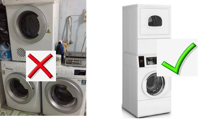 Hãy cẩn thận khi đặt máy sấy trên máy giặt